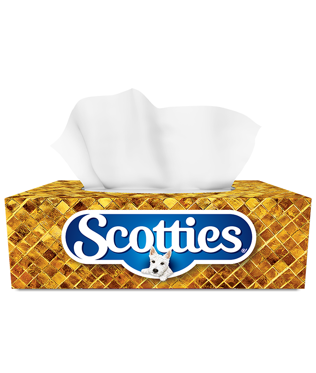 A package of Scottie's Facial Tissue