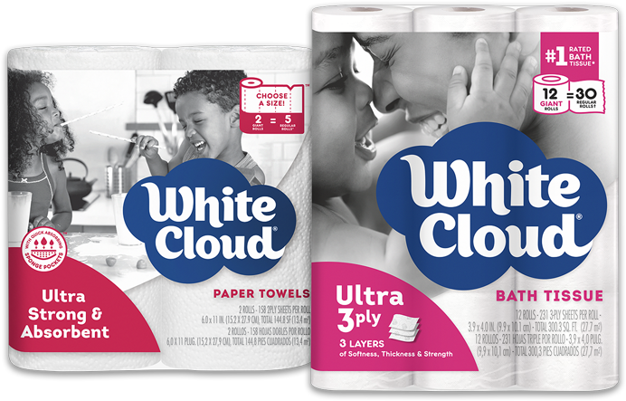 A mother and child branded on White Cloud Bathroom Tissue